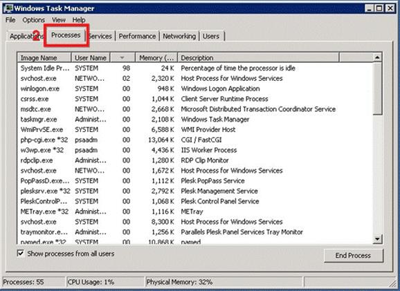 View Processes Running on Windows Server – Hostway Help Center