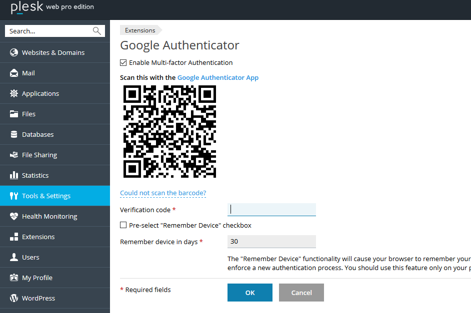 Setting up multi-factor authentication for Plesk control panel login